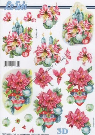 Christmas Candle & Baubles 3d Decoupage Sheet